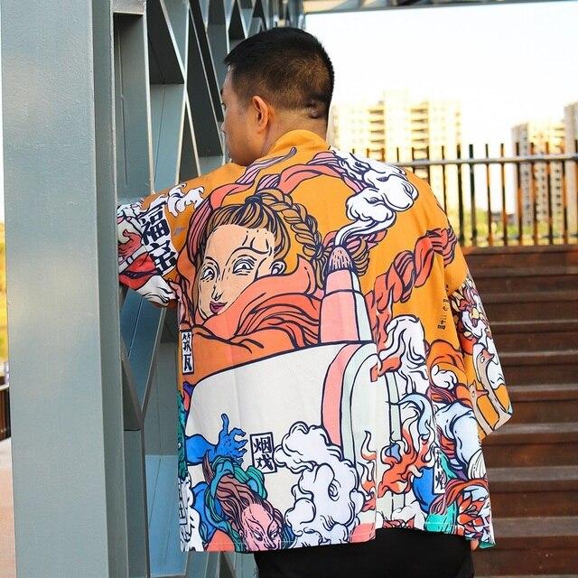 Kimono mężczyźni japońskie Kimono tradycyjne męskie kimono sweter mężczyźni harajuku streetwear samuraj kostium yukata mężczyzna haori obi FF001A