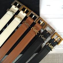 Y001/2 High Quality Luxury Brand Belt For Women Black Letter Classic Buckle Belt Real Genuine Leather Belts Gifts