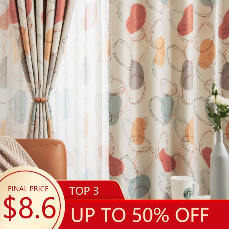 Orange Circle Blackout Curtains For Living Room Modern Purple Cotton linen Shade Cortina Geometric Window Drapes JK019Z