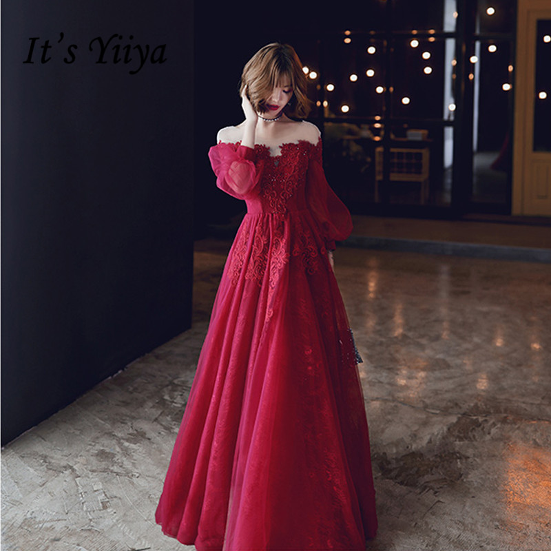 It's Yiiya Evening Dresses Elegant O-neck Three Quarter Sleeve Party Gowns For Women Crystal Plus Size Long Robe De Soiree LF007