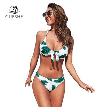 CUPSHE Leaves Print Bowknot Low-waist Bikini Sets Sexy Cut Out Tank Swimsuit Two Pieces Swimwear Women 2020 Beach Bathing Suit 3