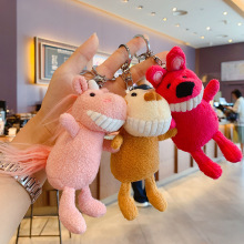New Cartoon anime keychain Unicorn Monkey Plush pompom doll keychains Squirrel key holder bag Pendant girl's Gift Animal keyring