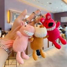 New Cartoon anime keychain Unicorn Monkey Plush pompom doll keychains Squirrel key holder bag Pendant girl's Gift Animal keyring