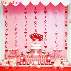 Valentines Day Decor I Love You Heart Garland Banners Love Heart Cake Toppers Engagement Party Wedding Confetti Table Decoration