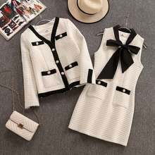 Bornladies Small Fragrance Women's Tweed Set V-Neck Pearls Button Jacket+Bow Scarf Vest Dress Short Dress Winter 2 Piece Set