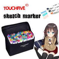Touchfive marcador caneta 30/40/60/80/168 cores arte marcadores definir cabeça dupla artista esboço caneta oleosa manga caneta pintura conjunto