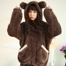 Autumn Winter Women Homewear Suit Thick Warm Coral Flannel Nightgown Female Cartoon Animal Pajamas with Hood