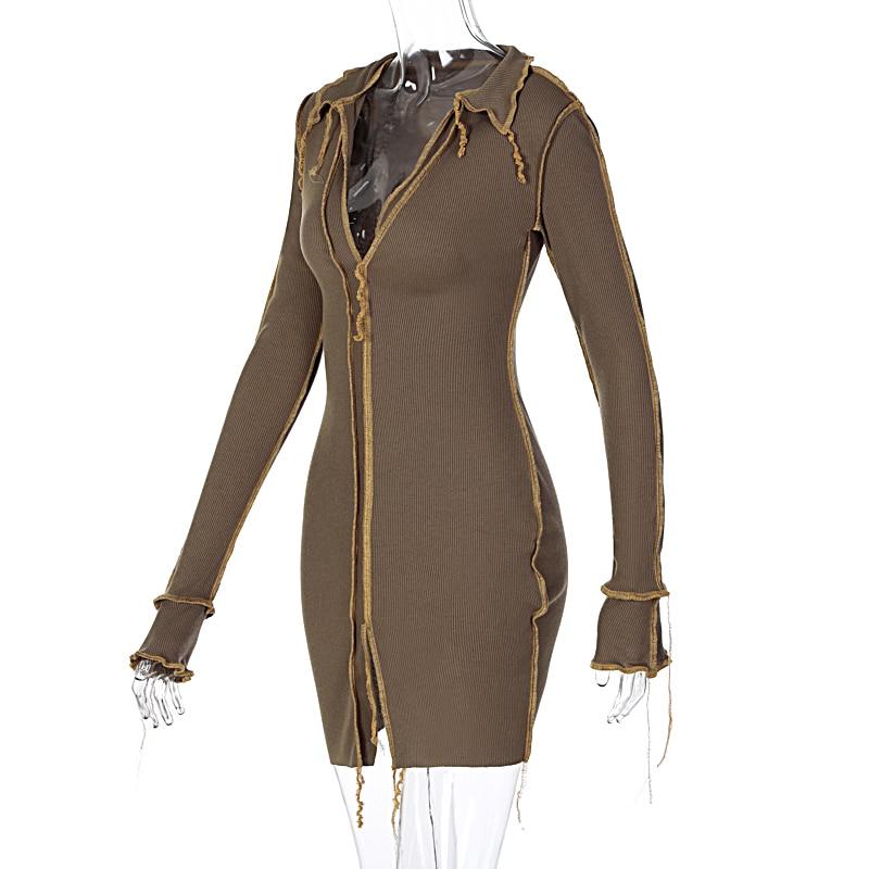 Hbcda39183dab4565a92c7a907e330621H - Hugcitar 2020 Long Sleeve Patchwork Sexy Mini Dress Autumn Winter Women Fashion Streetwear Outfits Clit Club Y2K Clothing
