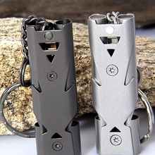 Keychain Whistle Multifunction-Tools Stainless-Steel Outdoor Emergency Double-Pipe Cheerleading
