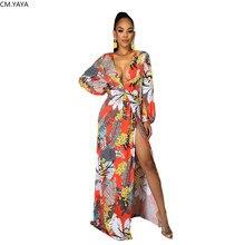 Robe longue à fleurs pour femmes, Maxi, imprimé Floral, manches longues, Sexy, fête, boîte de nuit, plage, style boho, élégante, été, 2020, GL09