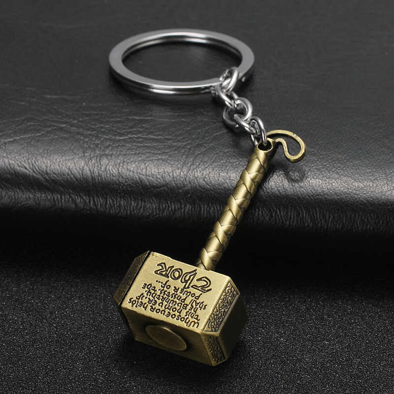 New Comics-Avengers-Super-Hero Keychain Thor-Hammer-Mjolnir KeyRing Purse Bag Buckle Gift Key chain Holder