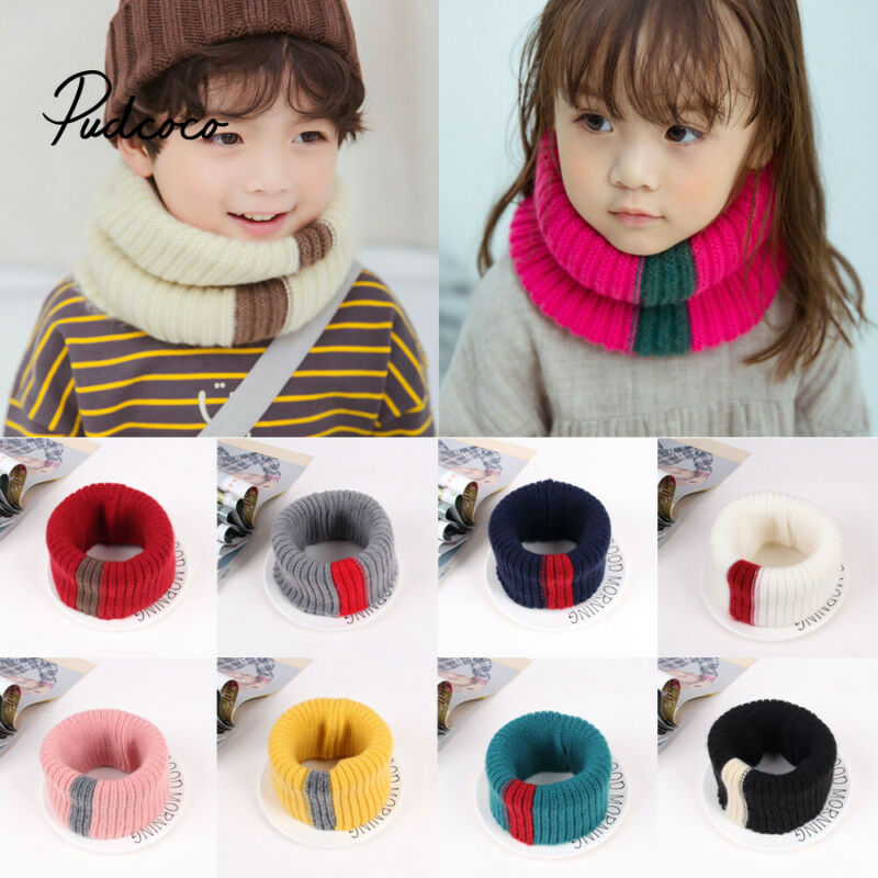 Brand Knit Neck Scarf Girls Thick Warmer Fleece Inside Winter Snood Scarf Wool Elastic Children Collar Ring Scarves 2020