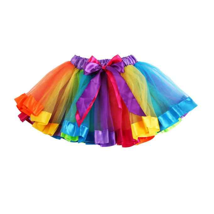 Kızlar çocuklar gökkuşağı Pettiskirt kombinezon ilmek etek Tutu etek çocuk şifon giyim tül Toddler Petti dans Tutu etek