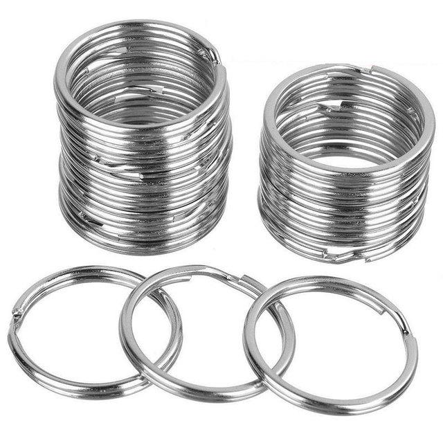 Silver Plated Metal Blank Keyring Keychain Split Ring Keyfob Key Holder Rings Women Men DIY Key Chains Accessories 5