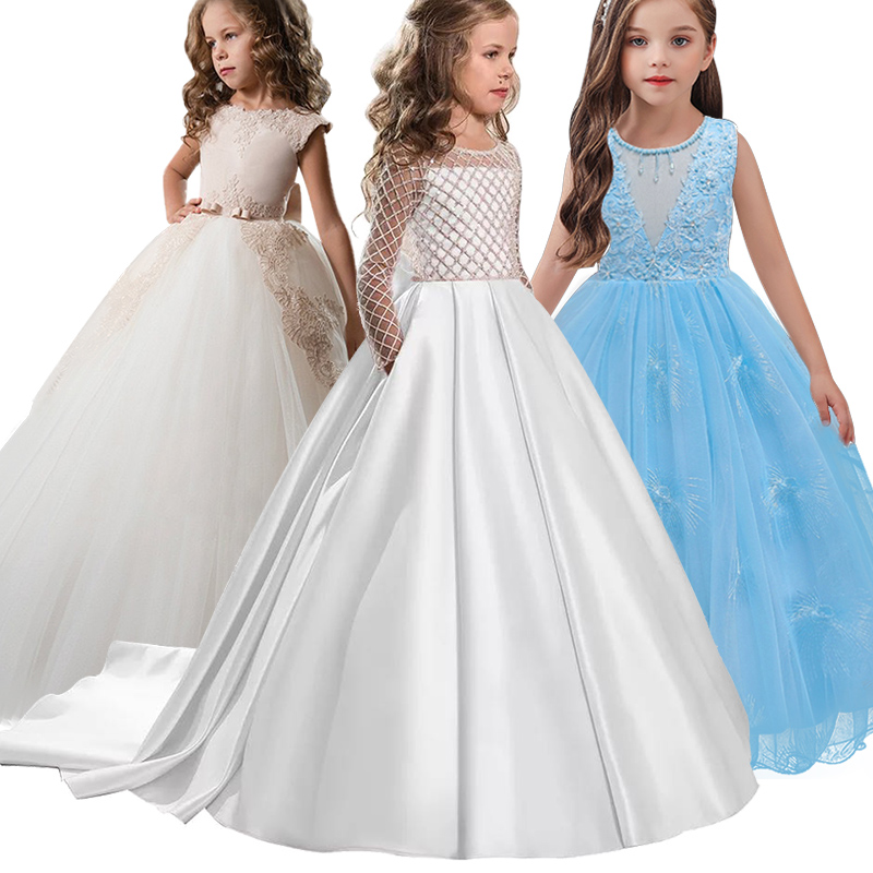 Little Flower Girl Dresses For Weddings Banquet Dress Girl Beaded Birthday First Communion Dresses Petals Long Sleeves Ball Gown