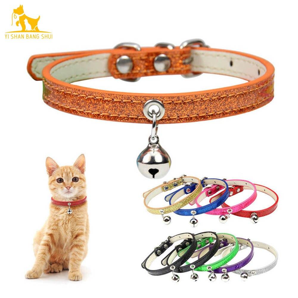 9 цветов Шикарный кожаный ошейник для кошек с колокольчиком безопасный ошейник для щенка котенка на шею для кошек аксессуары для чихуахуа т...