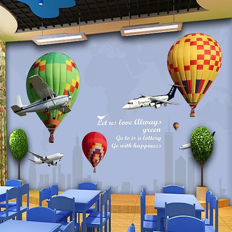 Custom Large Mural 3D Wallpaper Cartoon Nordic Creative Airplane Hydrogen Balloon Room Mural TV Back Wall Decor Deep 5D Embossed
