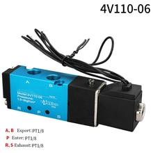 цена на AIRTAC 4V110-06 5 Way 2 Position 1/8 Pneumatic Solenoid Valve DC 24V DC 12V AC 110V AC220V with 4mm 6mm 8mm Fitting