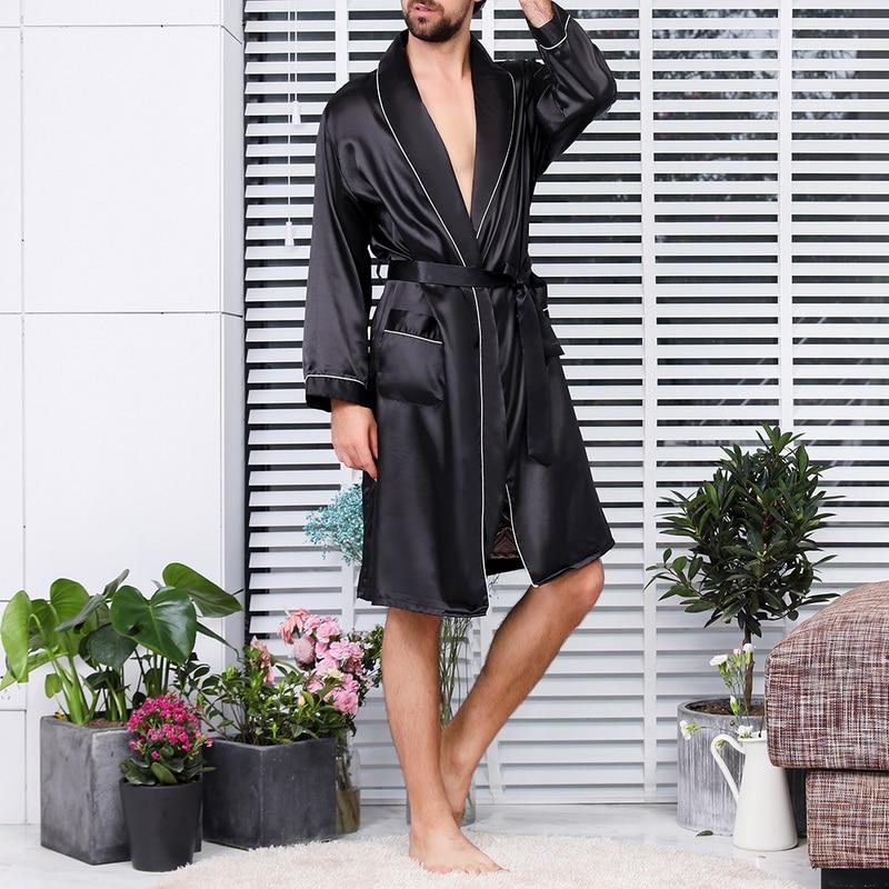 2020 New Men Black Lounge Sleepwear Faux Silk Nightwear For Men Comfort Silky Bathrobes Noble Dressing Gown Men's Sleep Robes