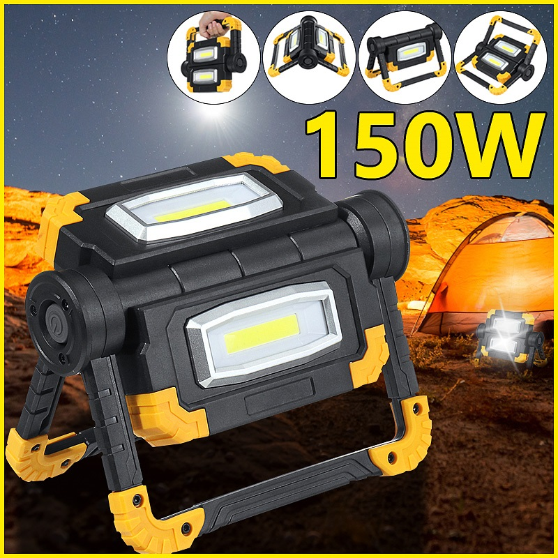 LED Floodlight Work Light COB Rechargeable Spotlight Battery/USB Charging Outdoor Floodlight For Camping Emergency Lighting