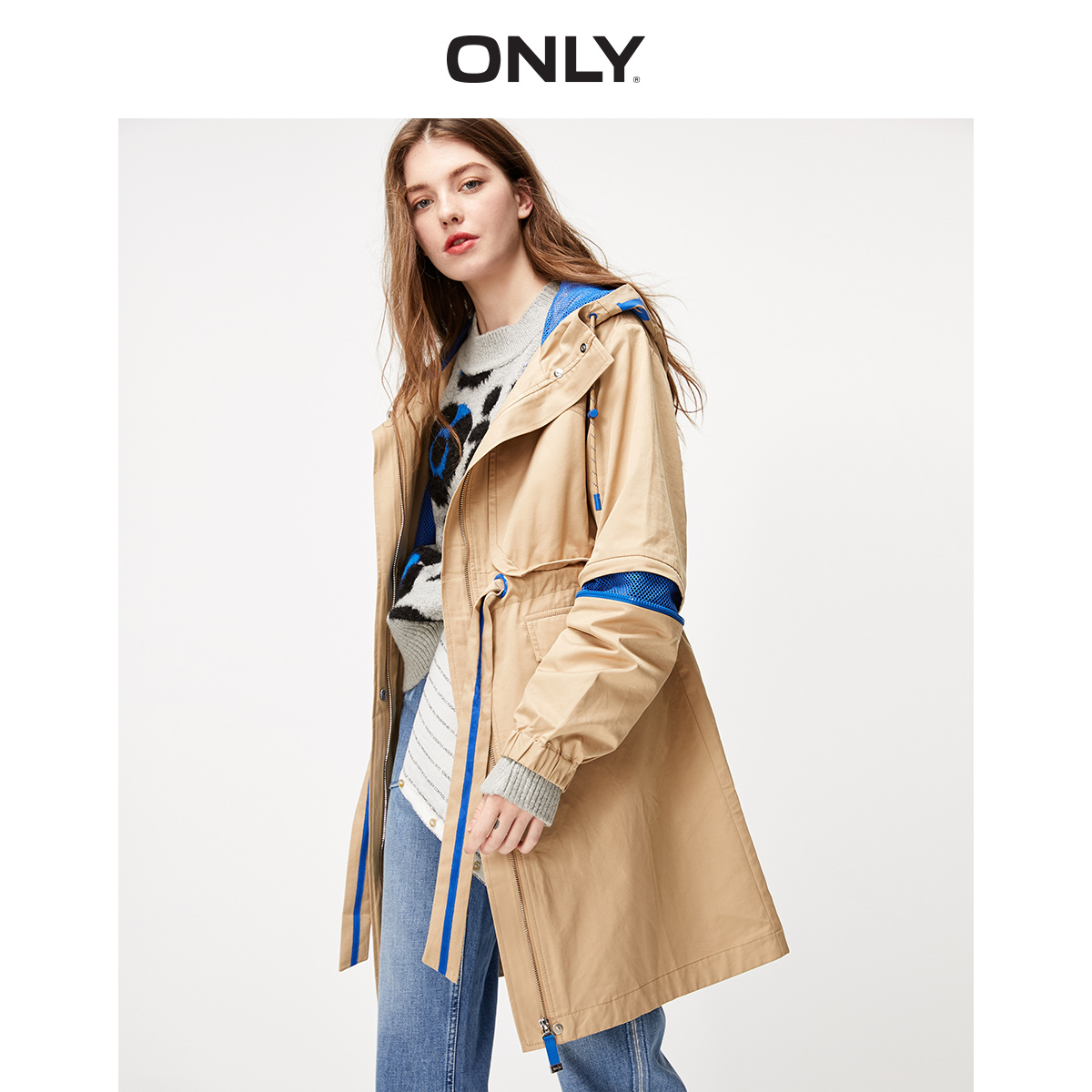 ONLY Women's  Mid-length Cinched Waist Trench Coat   119336525