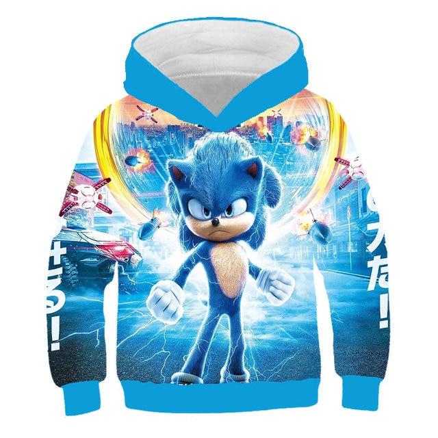 Sonic The Hedgehog Kids Boys Girls  Gift Long Sleeve thin Hoodie Top present New
