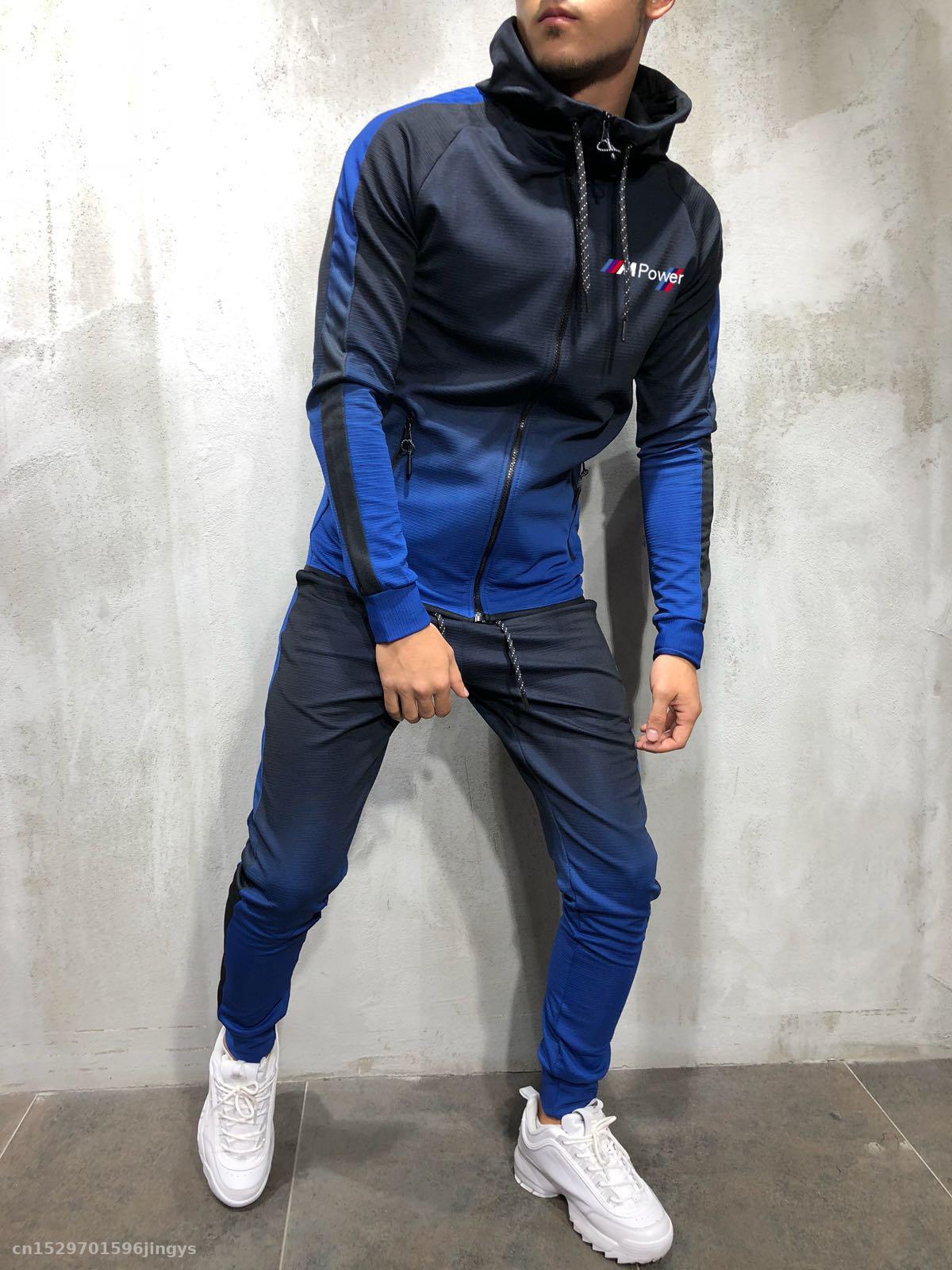 2020 Zipper Tracksuit Men Set Sporting Jacket+Pants 2 Pieces For Bmw M Power Hoodies Sweatshirt &Pant Racing Suit