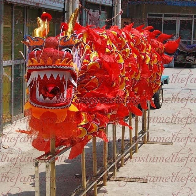 למבוגרים נגן גודל 4 משי frabic הסיני DRAGON ריקוד מקורי הדרקון הסיני עממי פסטיבל חגיגה הדרקון תלבושות
