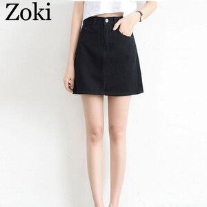 Image 2 - Zokiセクシーな女性デニムミニスカートファッション夏ハイウエスト韓国黒スカートブルーパッケージヒップジーンズ原宿プラスサイズ綿