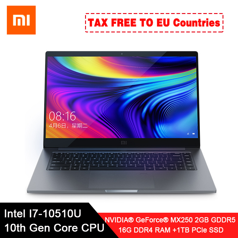 Original Xiaomi Laptop Pro 15.6 Enhanced Notebook i7-10510U MX250 2GB GDDR5 Memory 16GB RAM 1TB SSD Computer FHD Display image