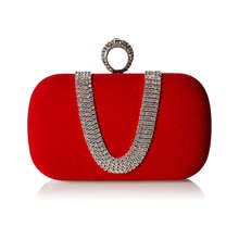 Suede Velvet Rhinestone Stud One Ring Decor Evening Cocktail Clutch Bag\u0028Red\u0029