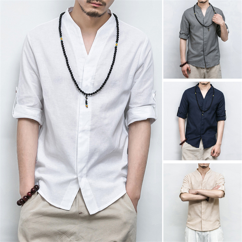 Traditional Chinese Style Clothing Shirt for Men Tang Suit Linen Kung Fu Wu Tang Clan China Fashion Hanfu Tops Plus M-5XL image