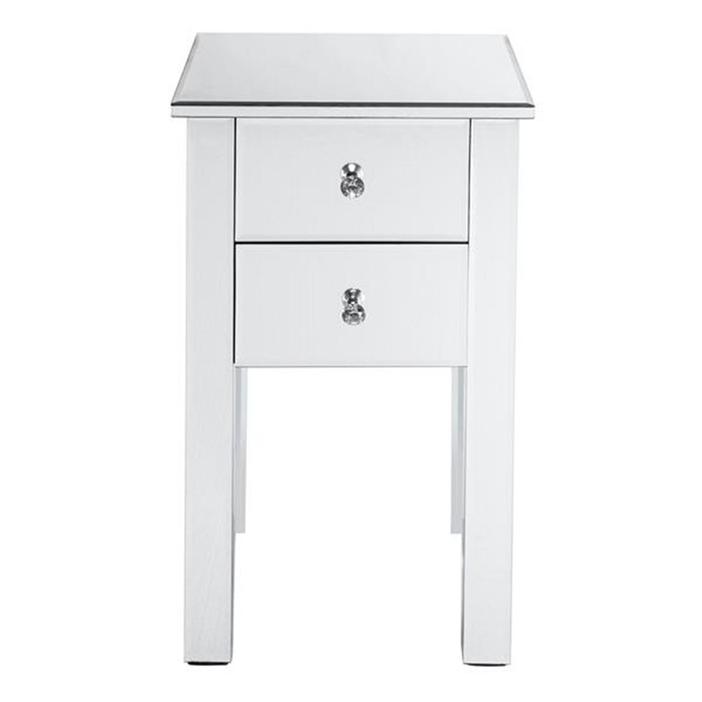 Modern And Contemporary Mirrored 2-Drawers Nightstand Bedside Table Silver Night Table Side Table