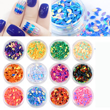 12pcs/bag 12Colors Horse eye Rainbow Drops Laser Nail Sequins Nail Art Powder Paillette Glitter 3D Nail Decoration Tips Set Kit(China)