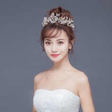 Fashion Trend Baroque Vintage Gold Butterfly Crown Flowers Wedding Headband Pearl Bridal Headpieces Bride Hair Accessories