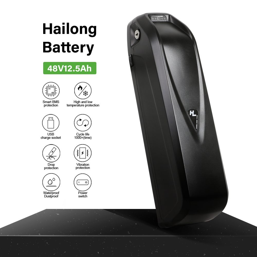 E-bike Hailong 48V Battery SAMSUNG 18650 Lithium Ebike Battery Shark Down Tube With USB Batterie Velo Electrique For 1000W Motor