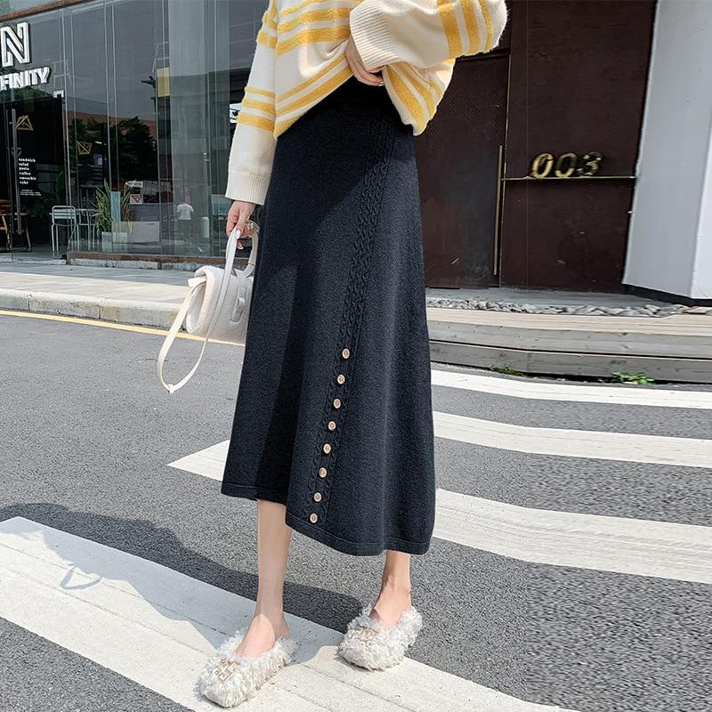 2020 Autumn & Winter New Elastic High Waist Slimming Retro Simple Slit Women Knitted Fishtail Skirt Tide Free Shipping