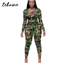Echoine Sexy Letter Print Mesh Transparent Long Sleeve Bodysuit Ankle Length Pants Two Pieces Sets Casual Outfits Tracksuit(China)