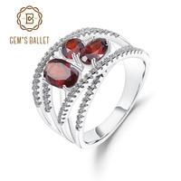 GEM'S BALLET 1.87Ct Natural Red Garnet Finger Rings 925 Sterling Silver Criss Cross Pavé Gemstone Ring For Women Fine Jewelry
