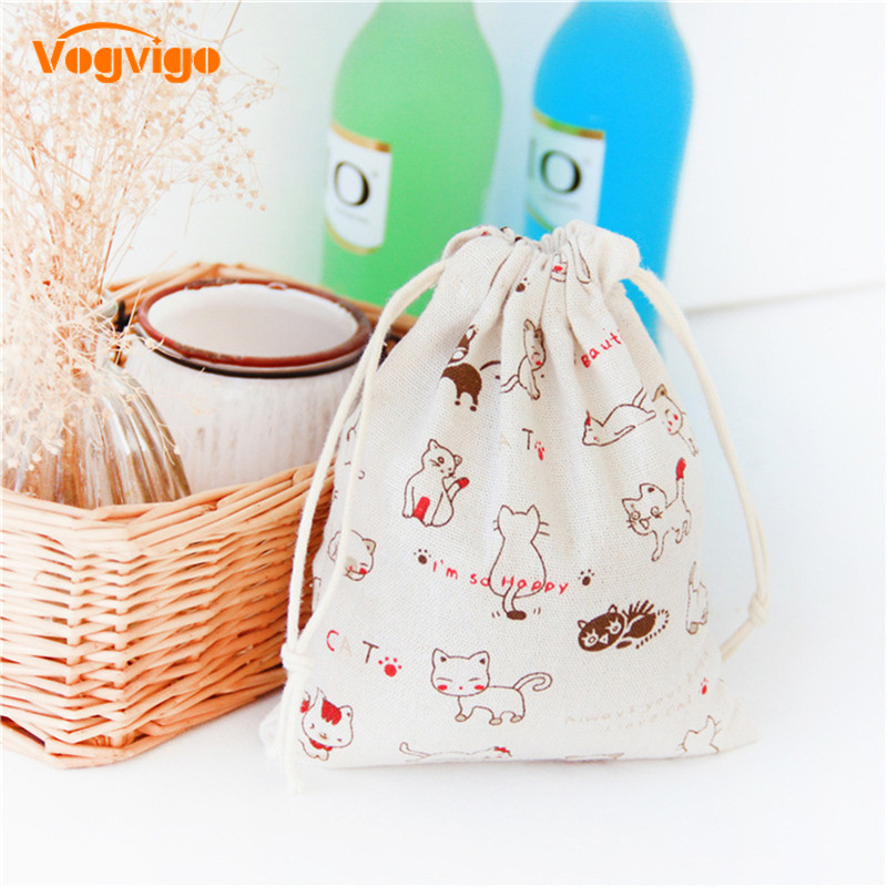 VOGVIGO Fashion Printed Drawstring Bags Unisex Retro Makeup Pouch Cosmetics Shoes Storage Bags Toiletry Bag Cosmetic Travel Case