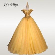 Its YiiYa Wedding Dress Deep V Elegant Gold Ball Gowns Off Shoulder Bridal Dresses Crystal Beading Robe De Mariee CH127