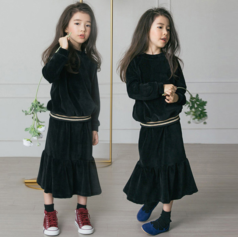 4 To 16 Years Kids & Teenager Big Girls Black Velour Long Sleeve Blouse with Fishtail Flare Skirt 2 Pieces Set Velvet Clothes