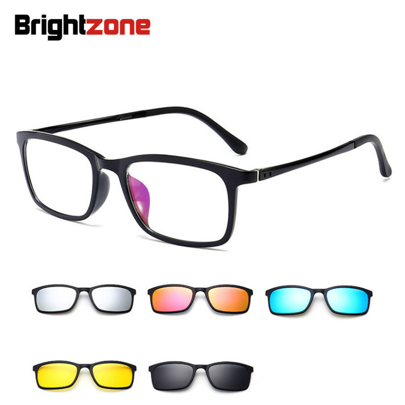 Full Rim Polarized Set <font><b>Sunglasses</b></font> <font><b>Men</b></font> Women <font><b>5</b></font> <font><b>In</b></font> <font><b>1</b></font> <font><b>Magnetic</b></font> <font><b>Clip</b></font> <font><b>On</b></font> Glasses TR-90 Optical Prescription Eyewear Frames Eyeglass image