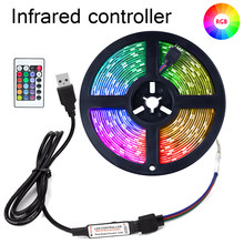 Tira Luzes Led RGB Controle Infravermelho USB DC5V 1M 2M 3M 4M 5M SMD2835 Flexível Fita Lâmpada TV Fundo Luzes Secretária Tela de Diodo