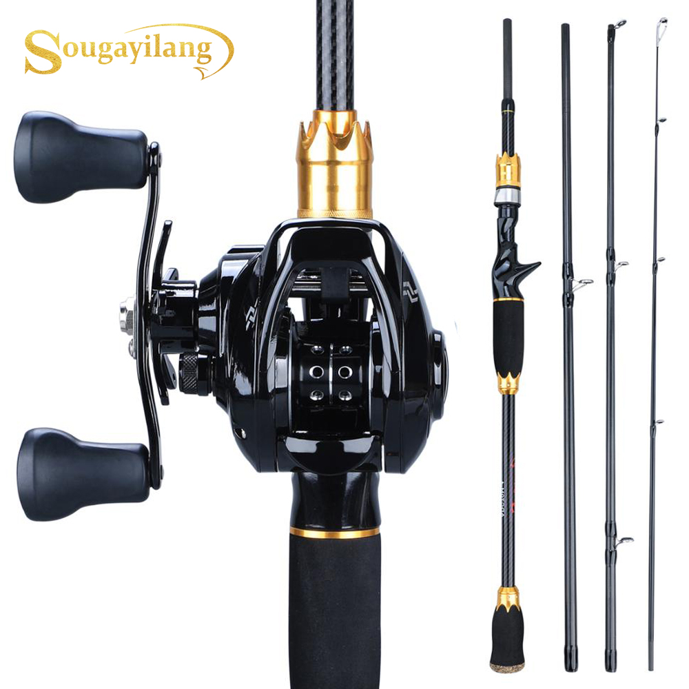 Sougayilang Fishing-Rod-Combo Carbon-Rod Baitcasting Reel And 1BB 4-Sections 12 Pesca title=