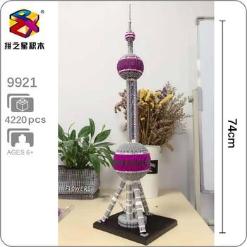 BS 9921 World Architecture Oriental Pearl Radio TV Tower 3D Modle DIY Mini Diamond Blocks Brick Building Toy for Children Gift