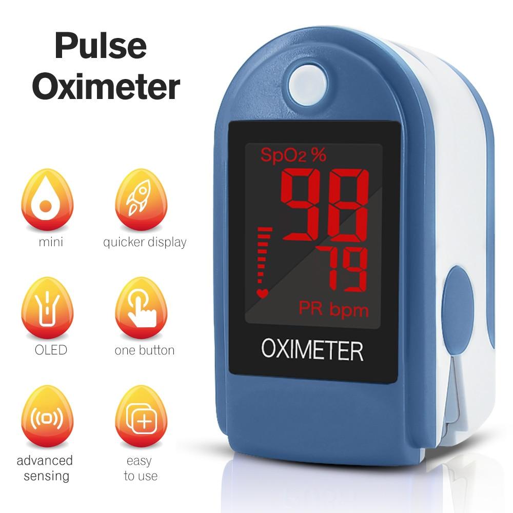 Digital Fingertip Pulse Oximeter LED Blood Oxygen Sensor Saturation SpO2 Heart Rate Monitor Meter Finger Oximeter Radom Color