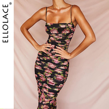Ellolace Floral Print Ruched Elegant Party Dress Women Spaghetti Straps Bodycon Chic Side Long 2019 Fashion Slim Dresses