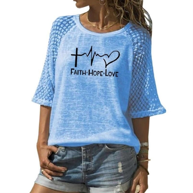 Faith Hope Love Letters Printed T-Shirt For Women Lace Crew Neck T-Shirt Top T-Shirt 2