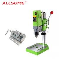 ALLSOME Mini Drilling Machine Drill Press Bench Small electric Drill Machine Work Bench gear drive 220V 710W with Press Vise